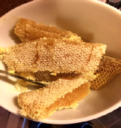 Fresh harvested honeycomb in a bowl.